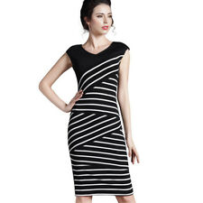 Women Casual V Neck Sleeveless Striped Bodycon Stylish Pencil Dress