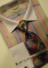 Mens Fratello FRV4122 Business Class Striped French Cuff Dress Shirt & Tie Set