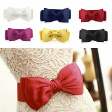 Fashion Women Elastic Wide Stretch Buckle Bowknot Bow Waistband Waist Belt BE