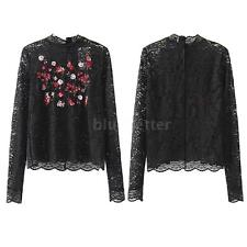 Women's Lace Sheer Long Sleeve Floral Embroidery T-Shirt Elegant Blouse Top Y1B1