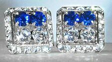 HALF & HALF SAPPHIRE & CLEAR CRYSTAL CUFFLINKS MADE/W SWAROVSKI CRYSTALS