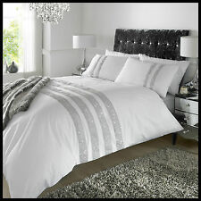 New Luxury Percale Ornament Diamante White Duvet Bed Set Double King & Superking