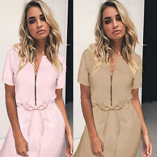 Sexy Women Ladies Casual Zipper Summer  Loose Mini Cocktail Evening Party Dress