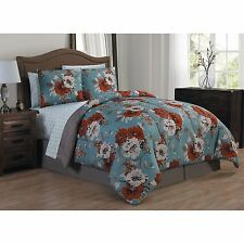 Transitional Floral Orange Blue 8-PC Comforter Set w/Sheets King Queen NEW