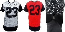 Mens #23 Bulls Extended Length T-Shirt Hip Hop Wear With Side Zippers