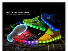 Girls Boy Glow In The Dark Shoes Light Up Runners LED Flashing Sneakers Trainers