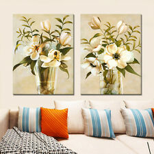 2PC No Frame Canvas Modular Vintage Flower Painting Wall Art Decor Living Room
