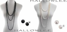 Genuine FRESHWATER PEARL Endless (100 inch) Hand Knotted NECKLACE & EARRINGS Set