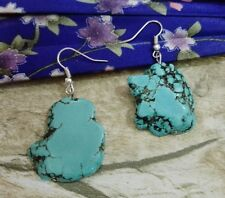 Fashion Jewelry Natural Stone Turquoise Silce Stone baroque Dangle Hook Earring