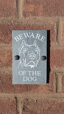 "BEWARE OF THE DOG Bull Terrier NATURAL SLATE 6""X4"" HOUSE DOOR PLAQUE SIGN"
