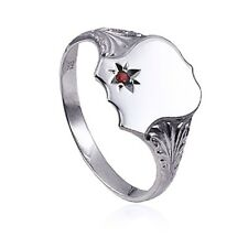 MENS 925 STERLING SILVER ENGRAVED SIGNET RING WITH CREATED RUBY- RRP $65.00