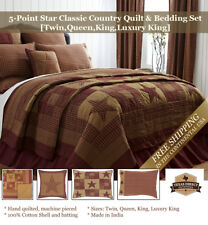 Western Country Quilt Set 5-Point Star ~ Rust, Tan, Burgundy (Twin, Queen, King)
