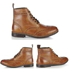 MENS REAL LEATHER TAN BROGUE LACE UP CASUAL SMART WORK ANKLE BOOTS SHOES SIZE