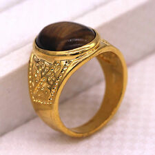 Fashion Big Ring Tigers Eye Brown Stone 24K Gold Plated Ring Size 9 10 11 12