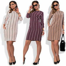 Larger Size Dress Women Casual Long Sleeve Striped Winter Dress L- 6XL New