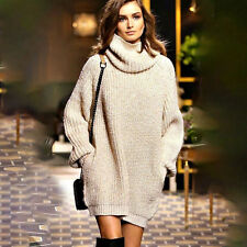 Womens Chunky Knitted Jumper Tops Pocket Oversized Pullover Sweater Jumper Dress