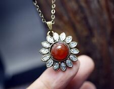 Vintage Red Carnelian Necklace - Bronze Sunflower Retro Edwardia Style Pendant