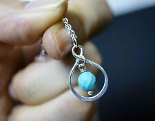 Infinity Turquoise Necklace Silver - Tiny Sterling Silver Turquoise Necklace - D
