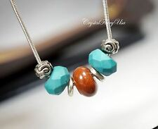 Natural Turquoise Necklace - Jasper Necklace - Men's Necklace - Men's Stone Pend