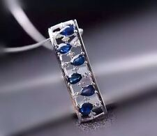 Natural Blue Sapphire Necklace, Sterling Silver Rectangle Stone Necklace, Luxury
