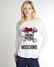 White Women Top Blouse New Modern Sexy T-shirt Skeleton Moschino