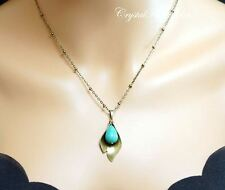 Turquoise Necklace - Lily Necklace - Genuine Turquoise Jewelry - Long Chain Bron
