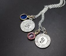 Initial Necklace Personalized Birthstone Necklace Handmade Stamped Name Necklace