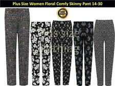 Womens Plus Floral Full Length Trousers Floral Print Elasticated Pants 14-30