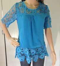 Womens Clothing Chiffon Blouses Tops Hollow Out Crochet Lace Trim Long Sleeve