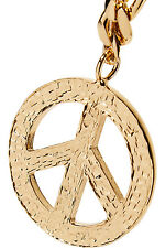 $595 MSRP Moschino Couture X Jeremy Scott Gold Textured PEACE Sign Necklace RARE