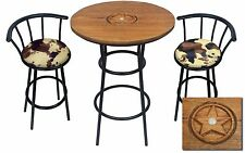 HAND CARVED OAK BAR TABLE SET WITH GLASS TOP AND 2 FAUX FUR COWHIDE BAR STOOLS