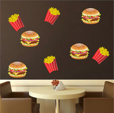 Burger And Fries Wall Decal Fast Food Vinyl Mural Removable Food Art Tasty, d33