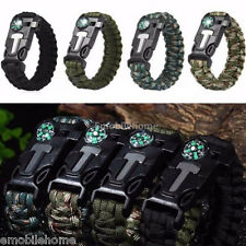 Outdoor Rope Paracord Survival Bracelet Flint Fire Starter Compass Whistle Wrist
