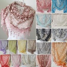 Women Lace Tassel Rose Floral Knit Mantilla Triangle Hollow Scarf Shawl Wraps BE