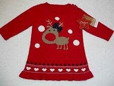 BNWT Baby Girls Pretty Red Knitted Christmas Reindeer Dress Outfit 6-9 months