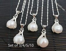 Bridesmaid Necklace Set,  Genuine Flawless Freshwater Pearl Necklace