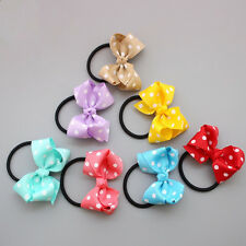 50Pcs dot Hair Bows Grosgrain Ribbon Bows Tie With Elastic Band For Baby Girls