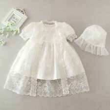 Baby Girls Toddler Satin Floral Embroidered Cristening Baptism Dress Gown Outfit
