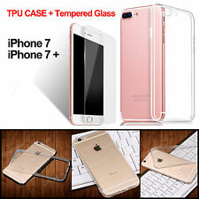 Hard TPU Case Cover with Tempered Glass Screen Protector for iPhone 7 & 7 Plus