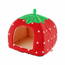 Soft Strawberry Pet Igloo Dog Cat House Kennel Doggy Fashion Cushion Basket BE