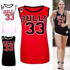 Ladies Womens Celebrity USA Sports Bulls 33 Basketball Vest T-Shirt Top UK 8-14