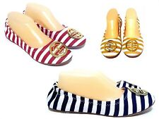 Stripe Shoes Flats Ballet Canvas Med Width Round Toe Blue Red Yellow