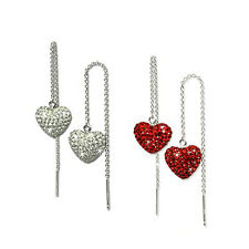 1 Paar Heart Earrings Silber 925 Swarovski Elements red or white Nickel-free