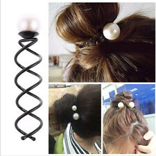 2X Girls Pearl Spiral Spin Screw Bobby Hair Pin Clips Twist Barrette Accessory