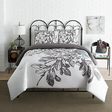 Transitional Style Floral Cotton/Poly White Blue Comforter Set King Full/Queen