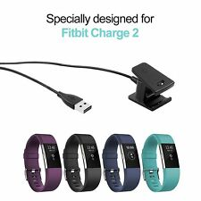USB Charging Cable Cord Charger + 3 Film Screen Protector For Fitbit Charge 2