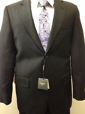 Baroni Suit, Two Button, 100% Wool, Black Stripe,NWT
