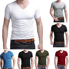 Mens V Neck Tops Tee Shirts Slim Fit Short Sleeve Solid Color Casual T-Shirt