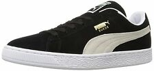 Puma Men's Suede Classic+ Sneakers, Black/ White, 12 M US