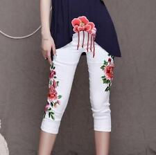 New Ladies Flower Embroidery Skinny Trousers Slim Cropped Trousers Short  Pants